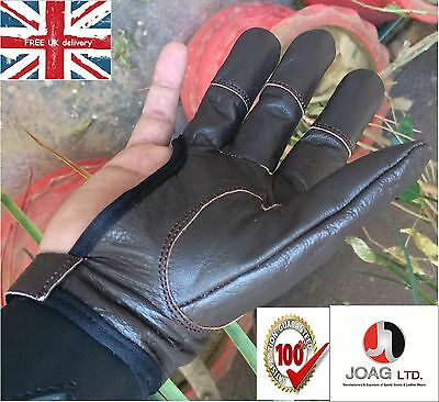 Archers, Leather Shooting 4 Finger Glove Chocolate Brown & Black--