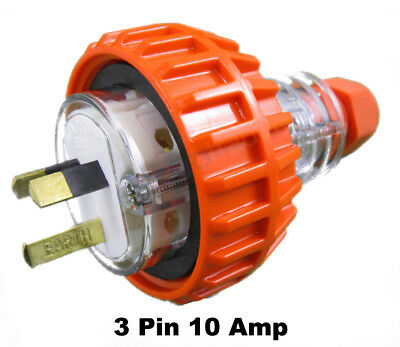 GEN3 10 AMP 3 Pin Flat Industrial Electrical Captive Plug IP66