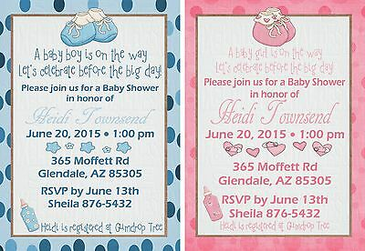 *Print Your Own*  Baby Booties Boy or Girl Baby Shower Invitation