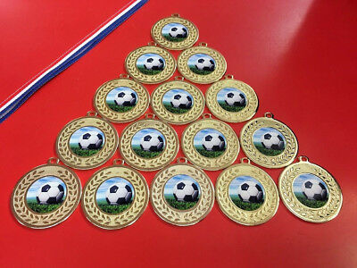15 X Metal Football Gold or Silver Medals With Ribbons + FREE P&P