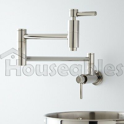 """21"""" Modern Retractable Double Joint Spout Wall Mount Pot Filler Polished Chrome"""