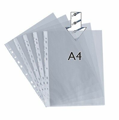 100x A4 Punched Pockets Clear Poly Wallets Filing Pack of 100 Multi punched New