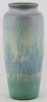 "ROOKWOOD SCENIC VELLUM LANDSCAPE 9"" VASE 1912 'SUMMER MORNING' BY ED DIERS MINT"