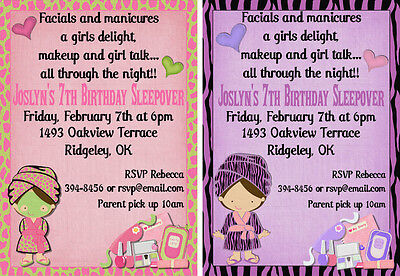 *Print Your Own* Spa Party Girl Birthday Invitation *Design Choice*