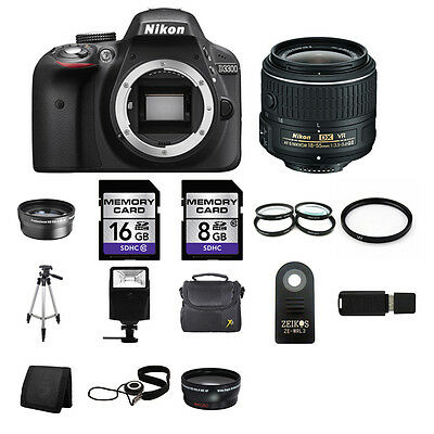 Nikon D3300 DSLR Camera - Black w/18-55mm Lens 24GB Total Kit