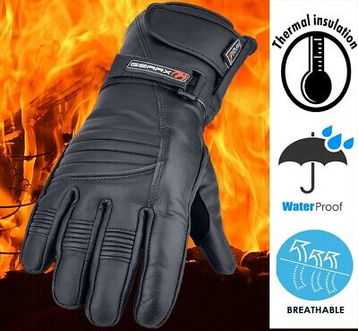 Winter Leather Motorbike Gloves Reflective Motorcycle Waterproof Padded