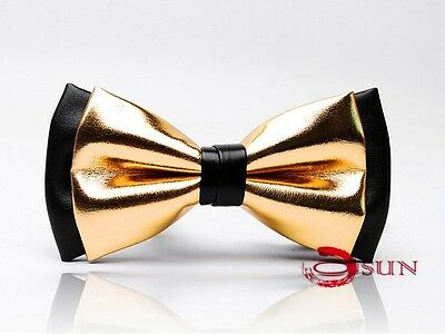 Mens PVC Faux Leather Gold Golden Black Shining Bow Tie Bowties Wedding Party