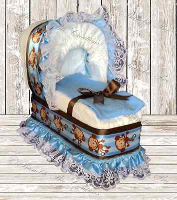Hanging Monkey Blue & Brown Print Diaper Bassinet Centerpiece/Baby Shower Gift