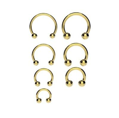 GOLD Horseshoe Bar Circular Barbell Lip Nose Septum Ear Ring Various Sizes