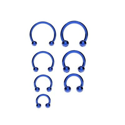 BLUE Horseshoe Bar Circular Barbell Lip Nose Septum Ear Ring Various Sizes