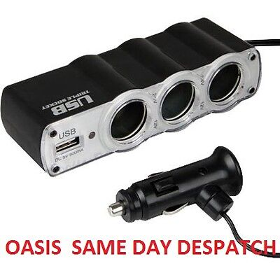 12V Usb Triple Multi Socket Car Cigar Socket Power Outlet Converter Adaptor 3