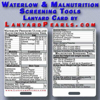 Nursing lanyard reference card - Waterlow Pressure Ulcer and Malnutrition Tool