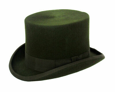 Gents Wedding Derby Event 100% Wool Hand Made Satin Lined Olive Top Felt Hat