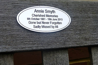 Memorial Bench/Grave/Door Plaque/Sign  Gold or Silver Colour Personalised