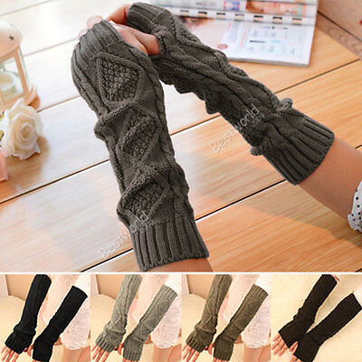 Women Winter Warm Fingerless Knitted Long Gloves Mitten Wrist Arm Hand Warmer