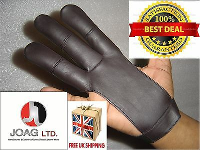 Archers Leather Shooting 3 Fingers Glove Chocolate Brown/ Hunting Gloves