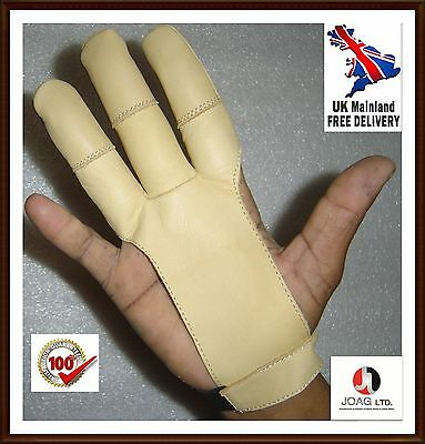 Archers Leather Shooting 3 Fingers Glove Beige Color-Shooting, Hunting Gloves