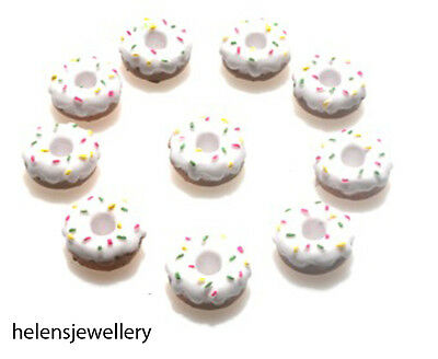 Gorgeous Iced White Donuts Kitsch Cabochons Kawaii Decoden - Fast Shipping