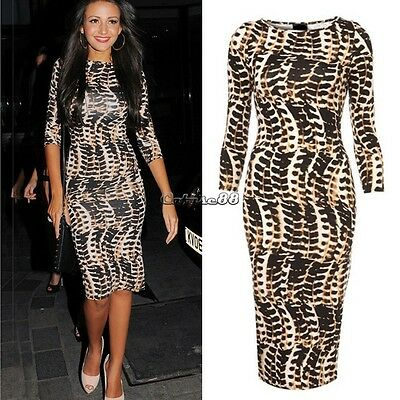 Ladies Celeb Animal Leopard Print Tribal Womens Long Midi Pencil Bodycon Dress