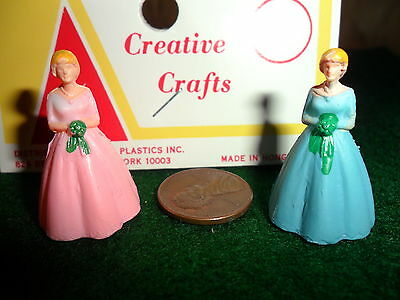 Vintage Plastic Miniature Bridesmaids lot of 2 (1 Pink Dress and 1 Blue Dress)