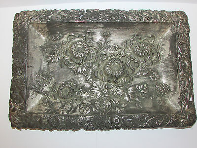 Antique Collectable Victorian Art Nouveau Tray With Flowers Details