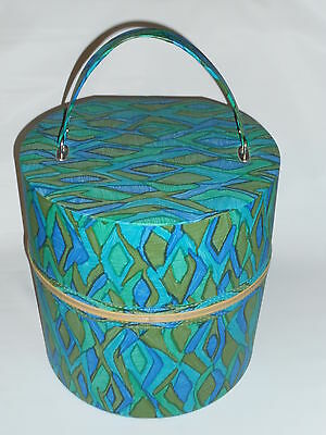 Vintage Wig Hat Case Box Retro Travel Train Tote Round Zippered Carrier