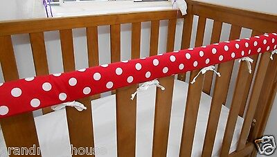 Baby Cot Rail Cover Crib Teething Pad Red White Spots x 1