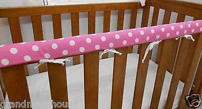 1 x Baby Cot Rail Cover Crib Teething  Pad - Spots on Pink