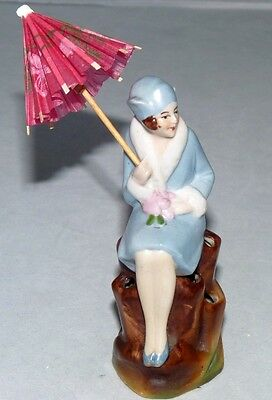 ART DECO LADY GERMAN FLOWER FROG FIGURINE. BEAUTIFUL.  VISIT MY COLLECTION