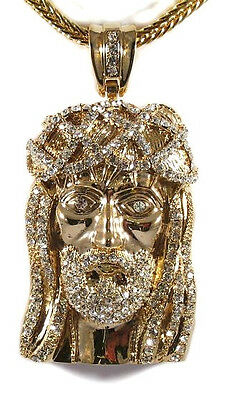"""MENS ICED OUT 14K GOLD FINISH JESUS PIECE HIP HOP PENDANT & 36"""" FRANCO CHAIN"""