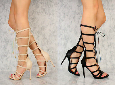 e8d54d38036a Lot 5 Nude Black Lace Up Strappy Gladiator Single Sole Heels Faux Leather