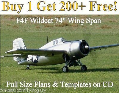 """F4F Wildcat 74"""" WS Giant Scale RC Airplane Plans & Templates on CD"""