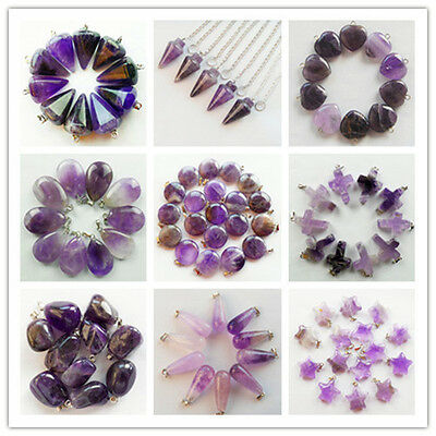 10pcs Natural Amethyst Mixed Shape Pendant Bead