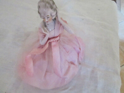 Demi Poupee Figurine Jambes Marquise  Boite A Poudre Half Doll Teepuppe