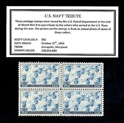 1945 - UNITED STATES NAVY - Vintage (WWII)  Mint -MNH- Block of Postage Stamps