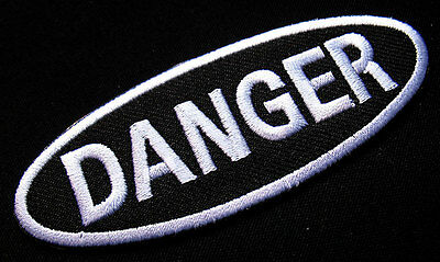 0905739083be #2 NAME TAG DANGER DANGEROUS EMBROIDERED IRON ON PATCH + Free Shipping