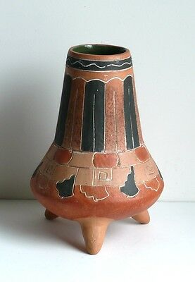 Vintage AZTEC inspired pre-Columbian Style Red Clay Pot Ceramic Vase