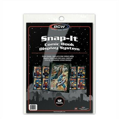 1 Pack of 12 BCW Snap-It Comic Book Wall Display Panel Holder Sleeve System