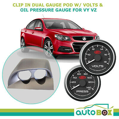 VY VZ COMMODORE DUAL SAAS GAUGE POD HOLDER and SAAS VOLTS + OIL PRESSURE GAUGES
