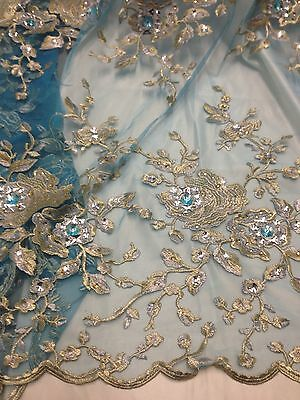 """Blue Mesh W/gold Silver Floral Embroidery Rhinestone Lace Fabric 50"""" Wide 1 Yd"""