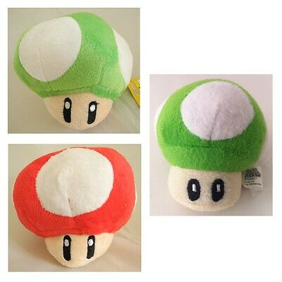 Super Mario Bros Plüsch Figur Plush Mushroom - SUPERPILZ # 1-UP PILZ rot grün