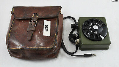Original leather case with finger dial for phone from Swedish army - RARE