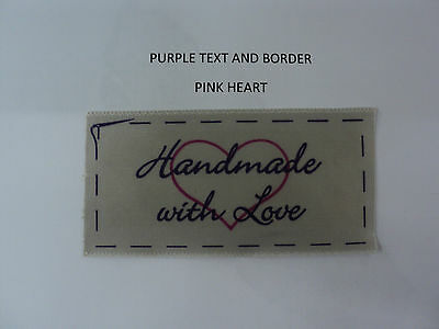 Handmade with Love printed  clothing labels