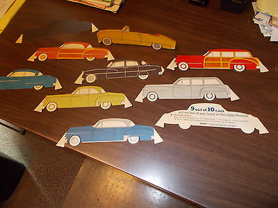 1950s Esso Car Cut-outs Promoting Esso Gasoline / 9 Vintage Cars in Color