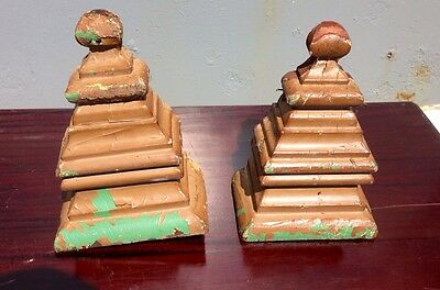 Pair Of Architectural Primitive Bee Hive Finials