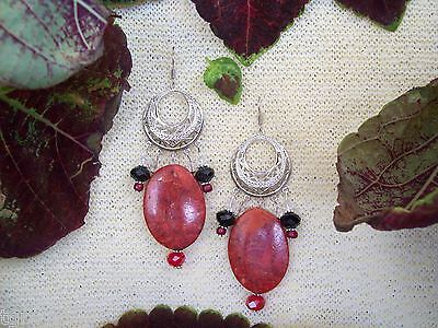 Hand Made Earrings AA Red Moss Agate Ovals Ruby Austrian Crystal & Blown Glass