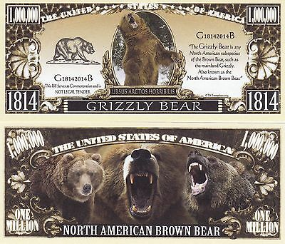 Novelty Notes / Fun Money - GRIZZLYBÄR / Braunbär  *neu*