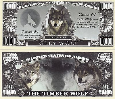 Novelty Notes / Fun Money - TIMBERWOLF / Wolf / Grey Wolf   *neu*