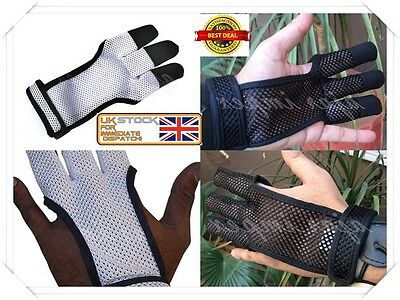 ARCHERS MESH SHOOTING 3 FINGERS GLOVE Leather Free Gloves, Archery Fabric Gloves