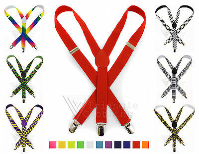 Adjustable Mens Ladies Unisex Slim Braces Trouser Suspenders Clip On Fancy Dress